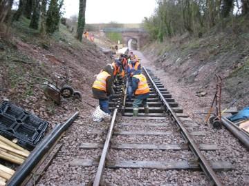 Volunteers fitting track Mountsorrel Station
